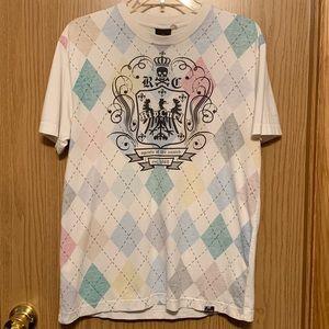 Rip Curl Argyle graphic T Shirt vintage mens Med